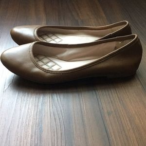 Vince Camuto Brown Leather Lupe Ballet Flats